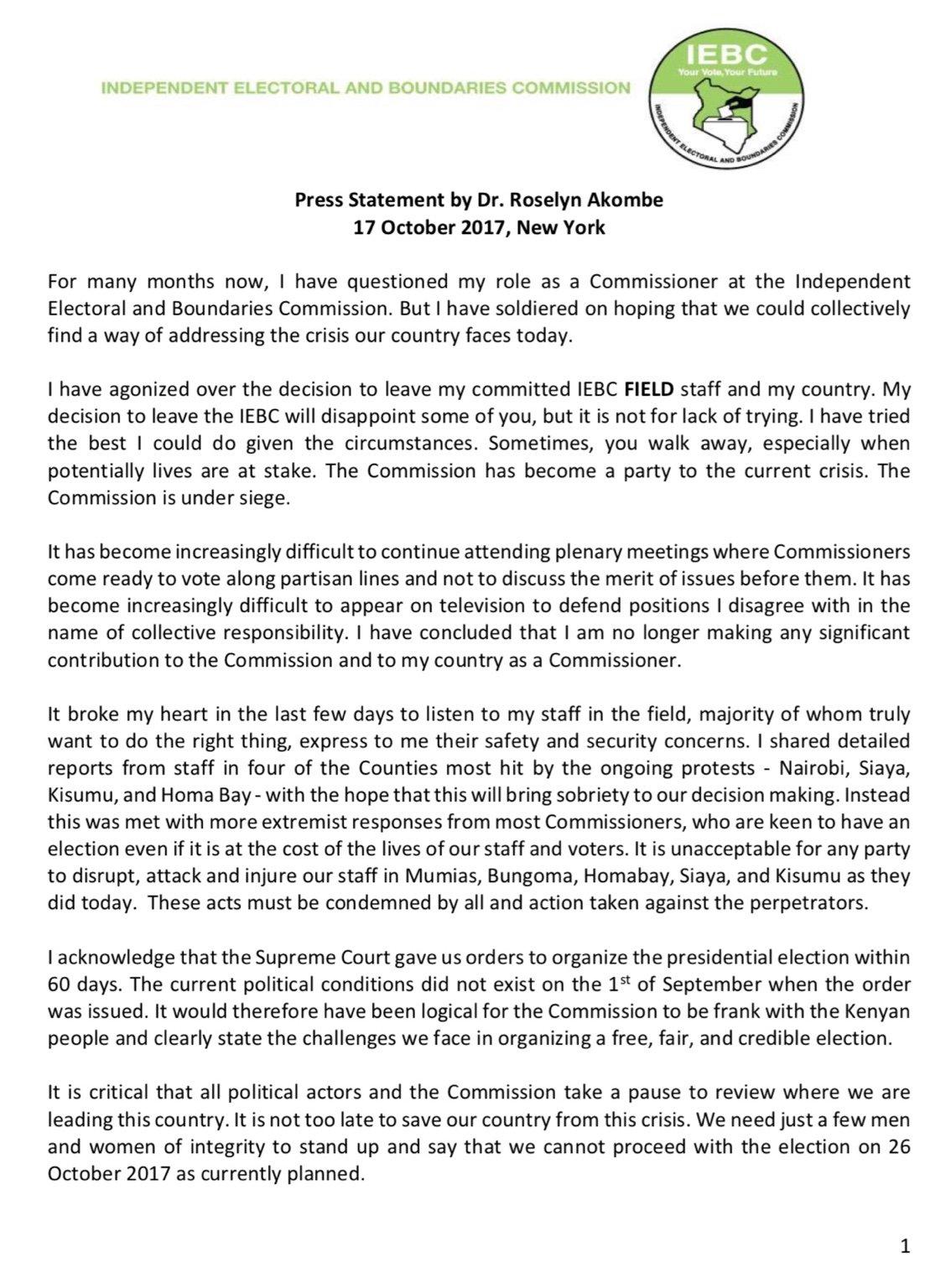 kenya dr roselyn akombe s resignation letter as iebc commissioner